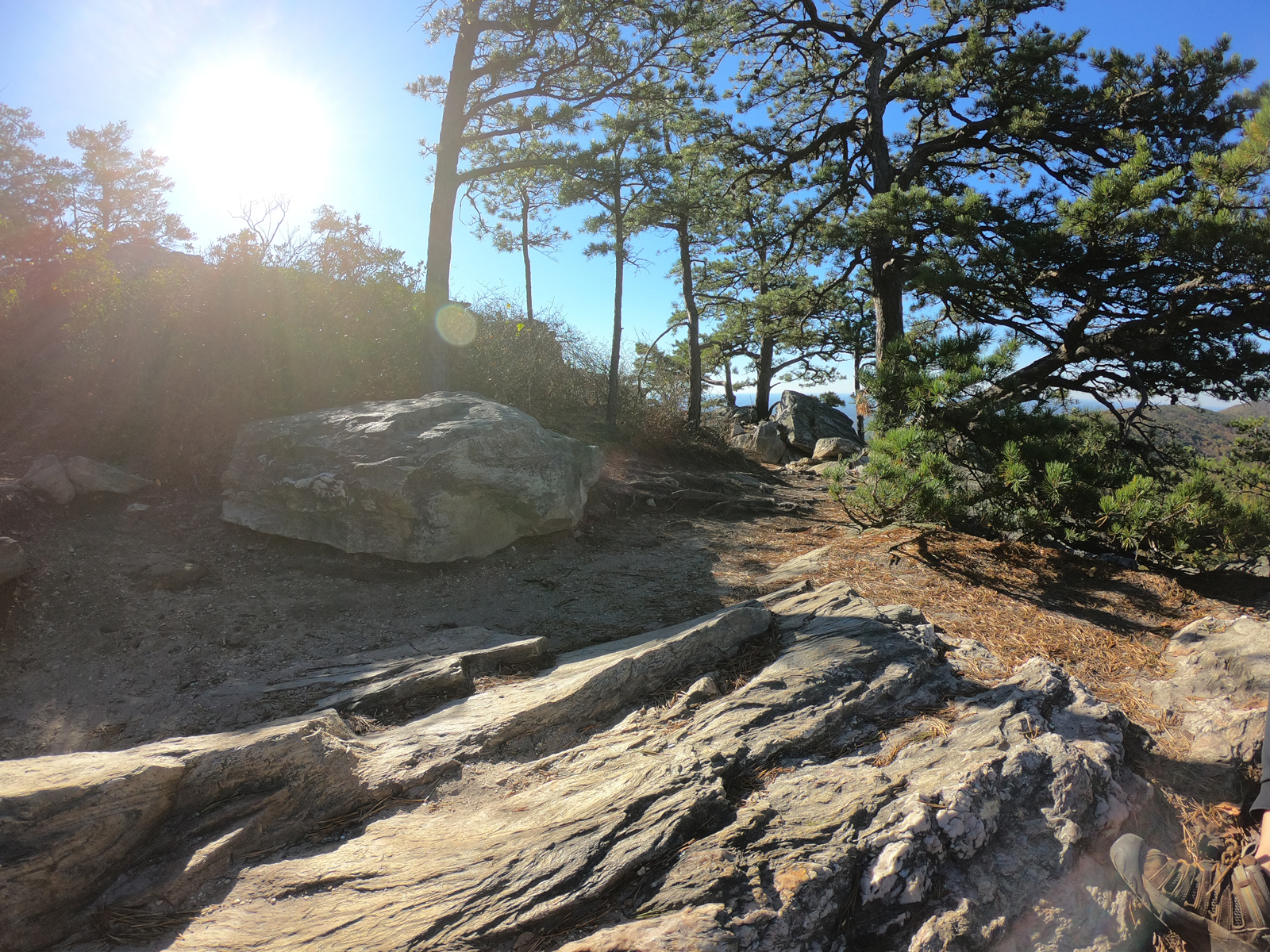 Hiking a rocky trail in Hanging Rock State Park, North Carolina