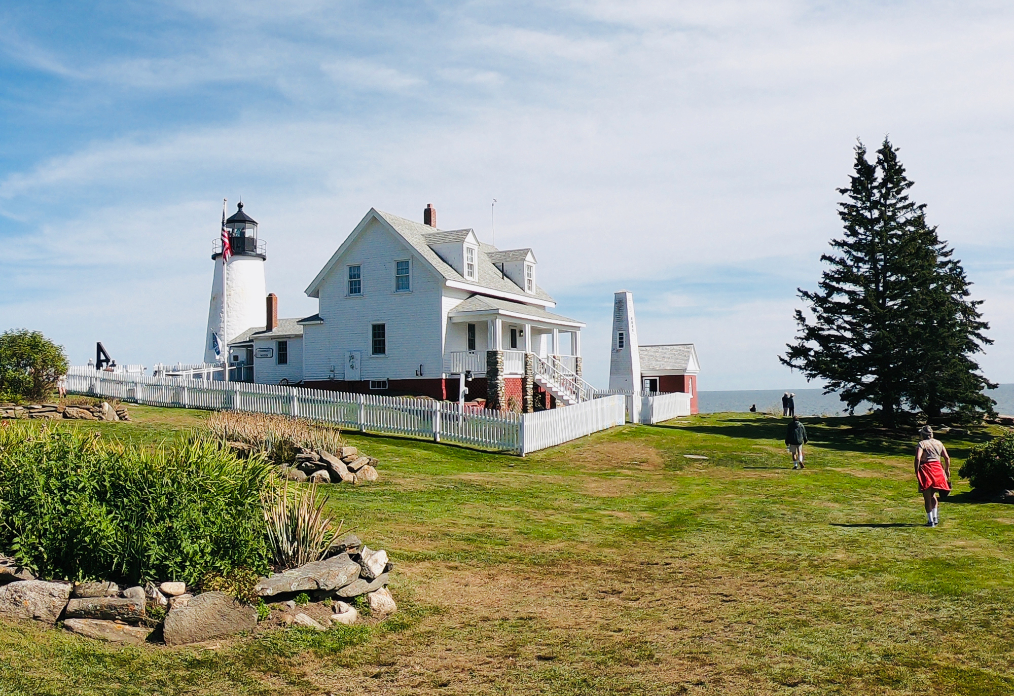 The Pemaquid lighthouse at Pemaquid Point Lighthouse Park in Bristol, Maine