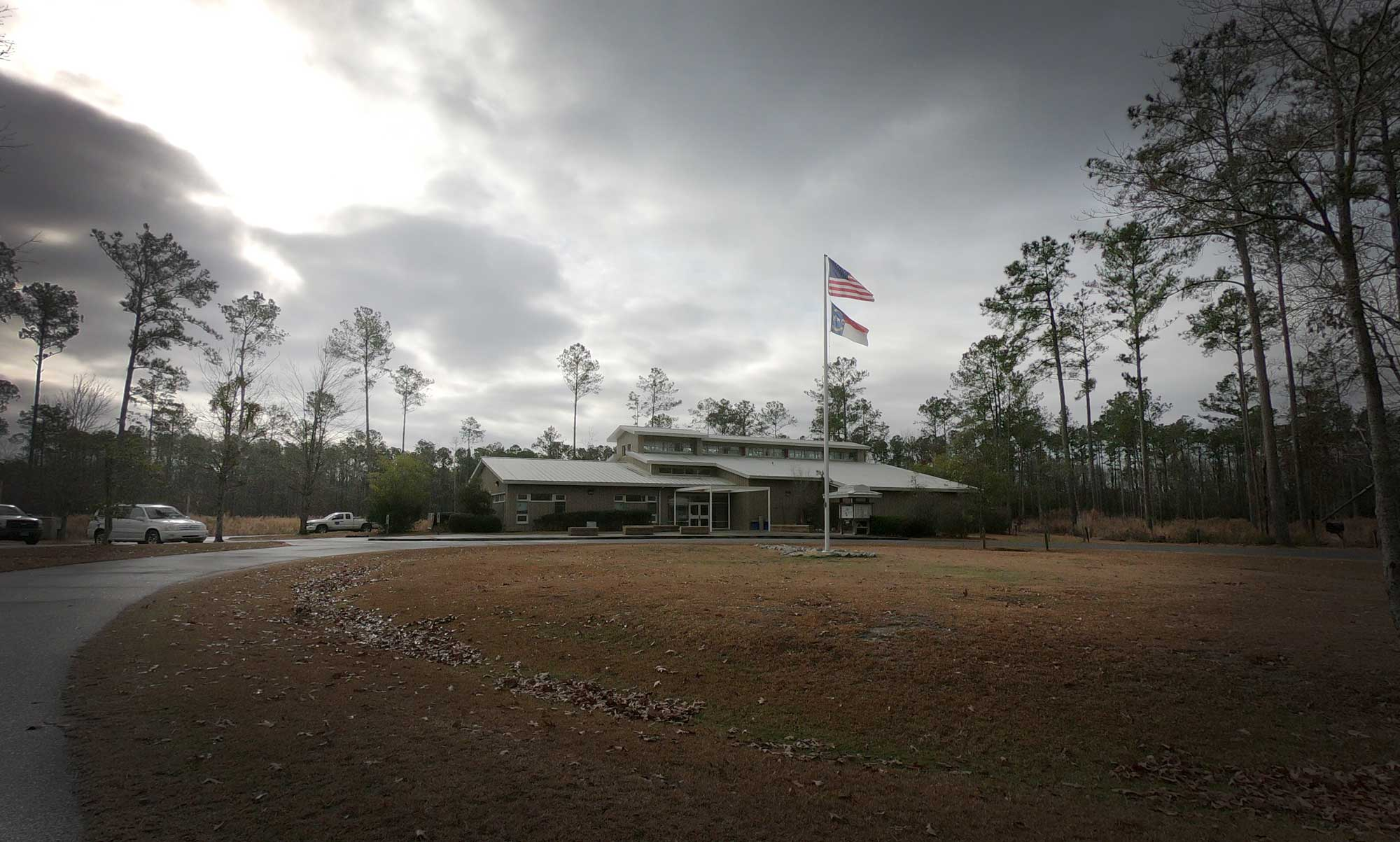 Exterior view of Goose Creek State Park Environmental Education Center in North Carolina