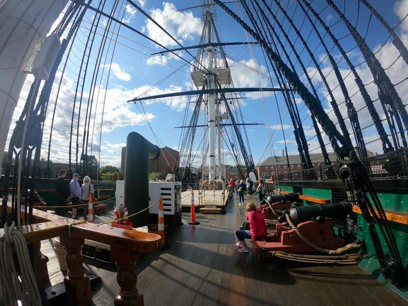 On deck of the USS Constitution along the Freedom Trail in Boston, Massachusetts