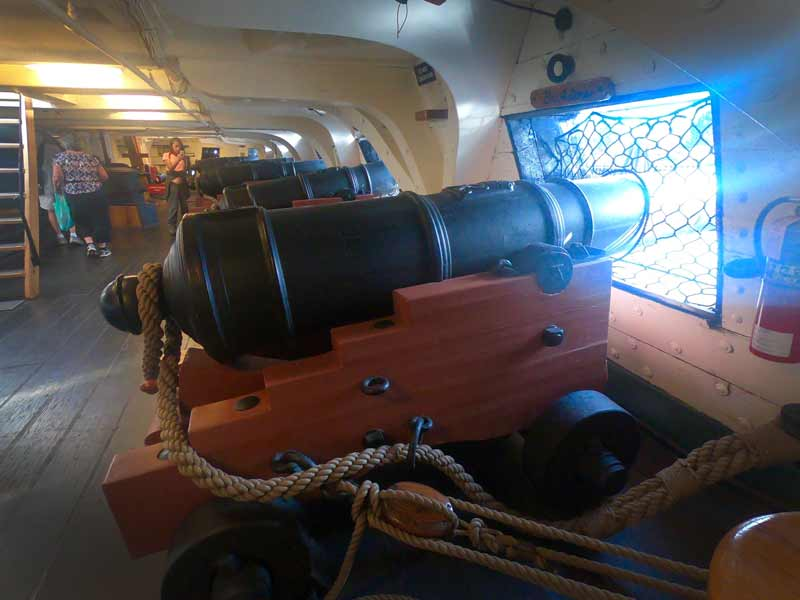 Cannon below deck on the USS Constitution along the Freedom Trail in Boston, Massachusetts