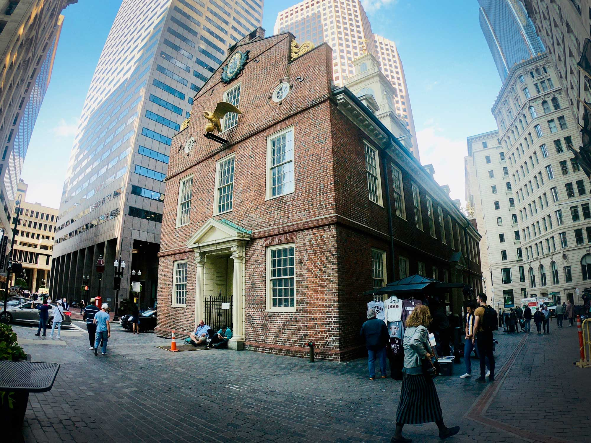 Exterior brick view of Old State House Museum on Freedom Trail in Boston, Massachusetts