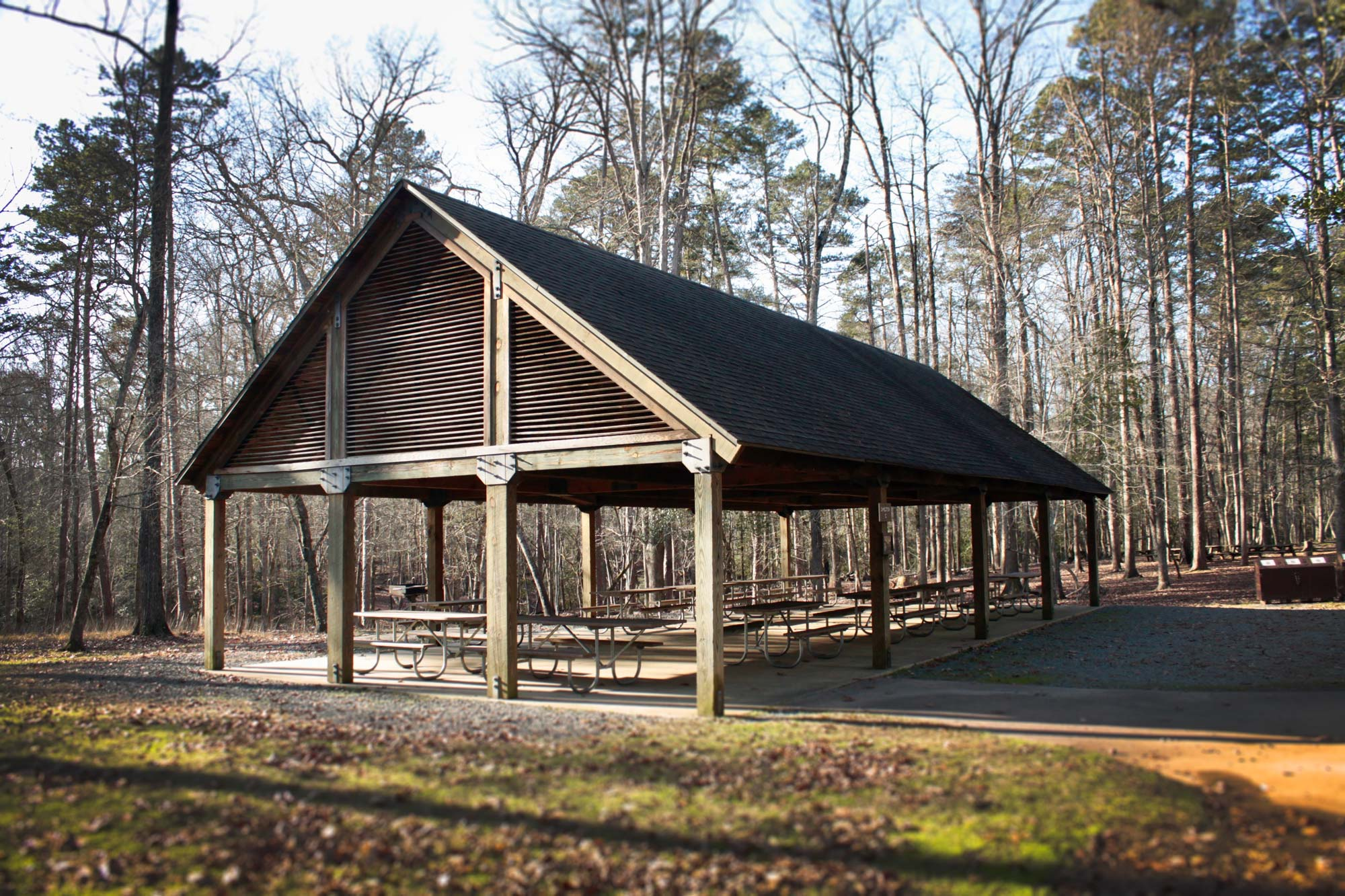 Picnic shelter near the Quarry Trail  in Morrow Mountain State Park, North Carolina