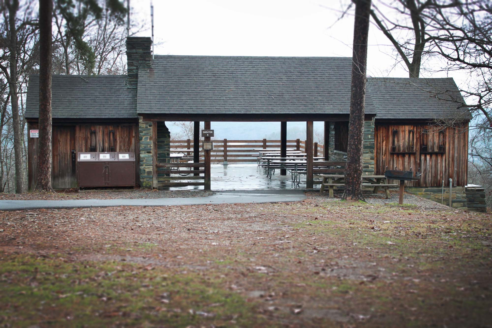 Picnic shelter at the top of Morrow Mountain  in Morrow Mountain State Park, North Carolina