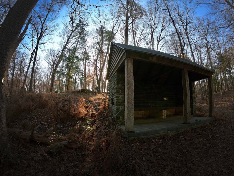Civilian Conservation Corps stonework shelter on the Quarry Loop Trail in Morrow Mountain State Park, North Carolina