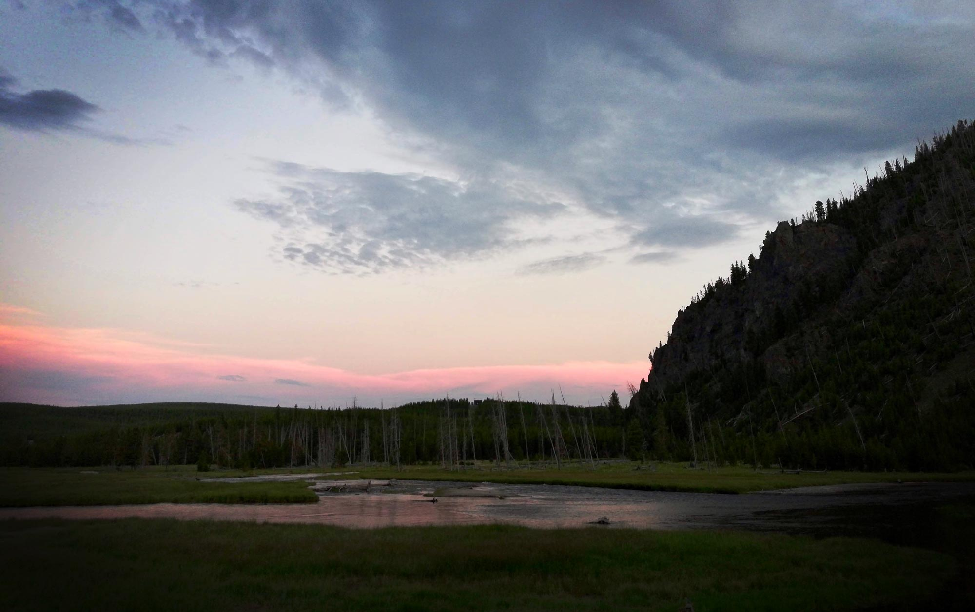 Sunset on Madison River near Madison Campground in Yellowstone National Park