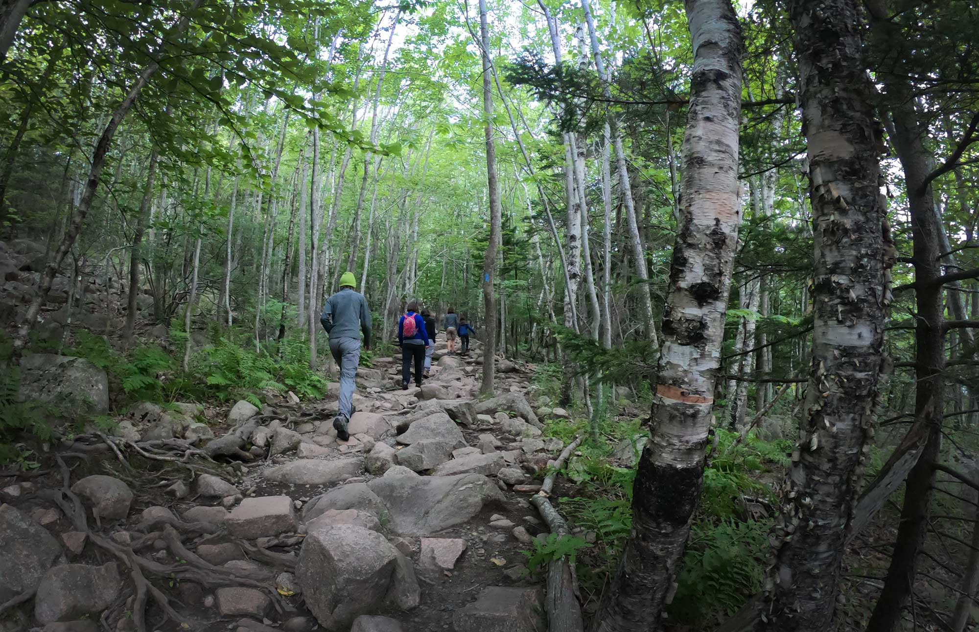 Family hiking on the rubble of the Beehive Trail, Acadia National Park, Maine