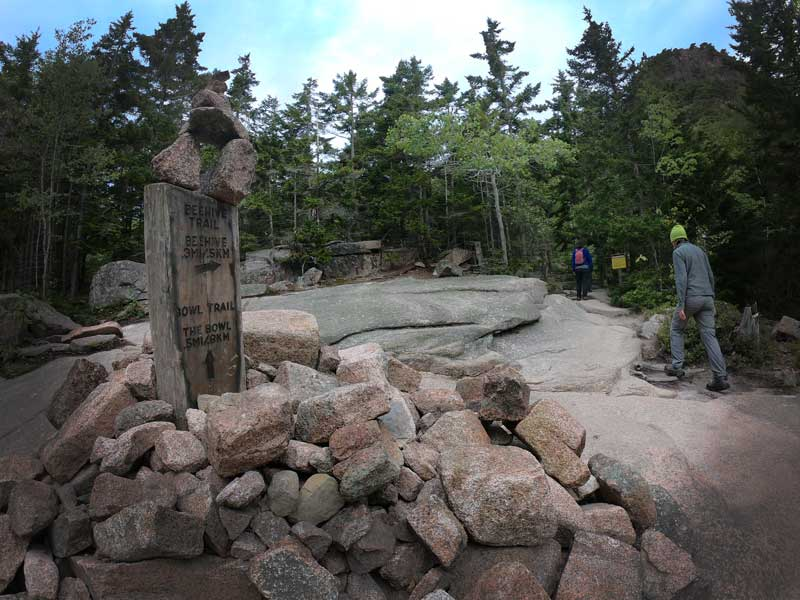 Trail markers on the trailhead of the Beehive Trail, Acadia National Park, Maine