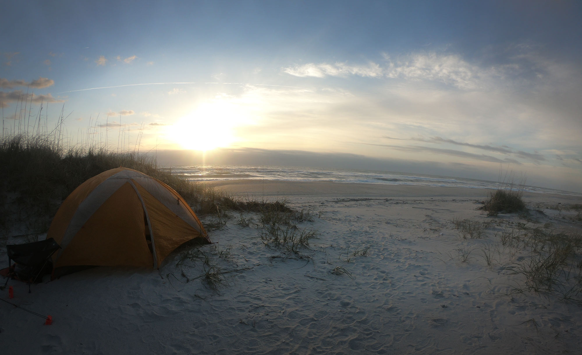 Camping on Masonboro Island, North Carolina