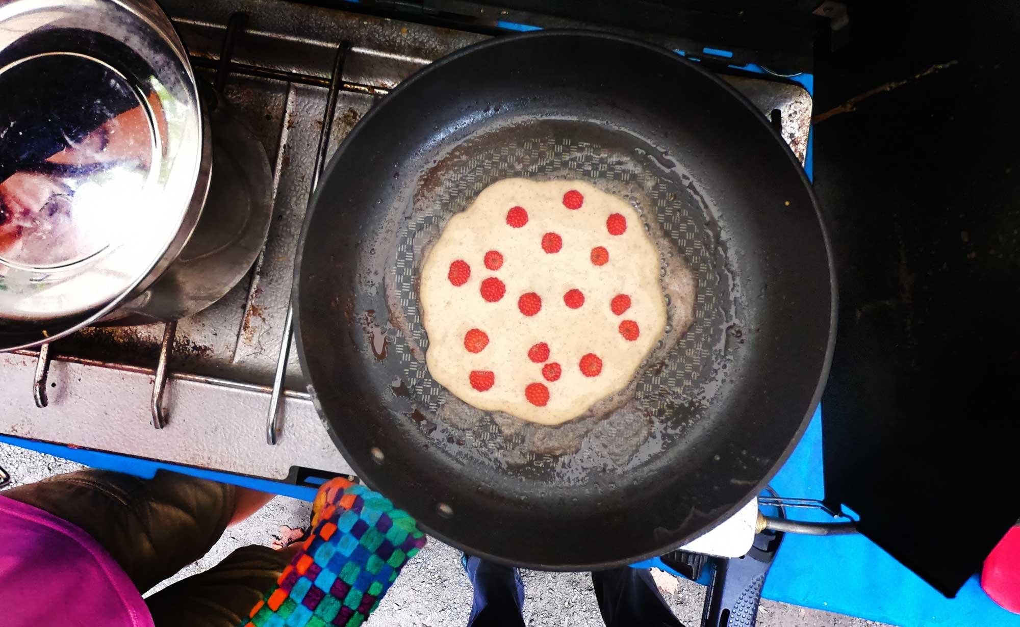 Wild-picked raspberries pancakes at Davidson River Campground, North Carolina