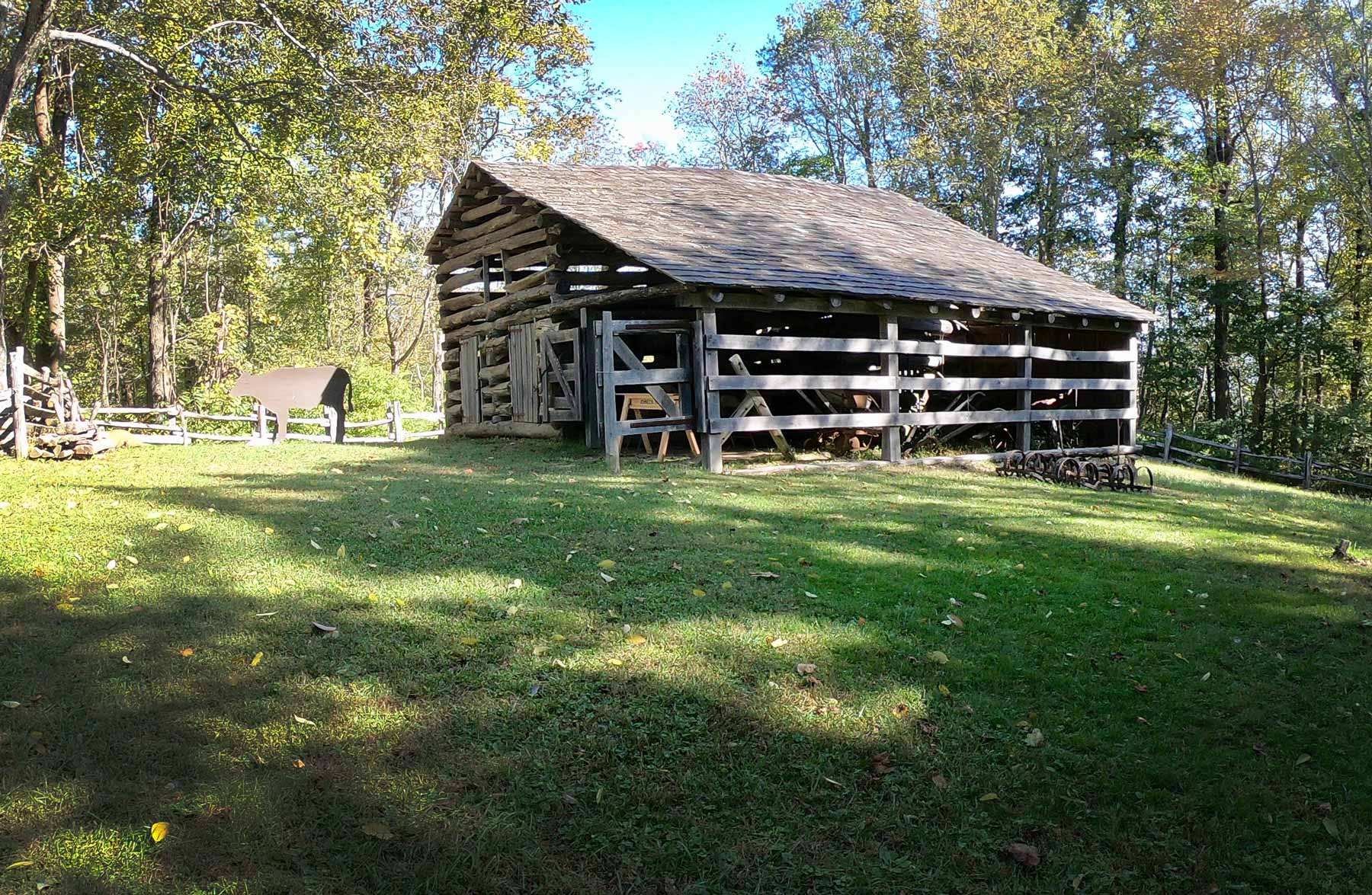 Mountain farm building on the Johnson Farm Loop Trail at Peaks of Otter, Virginia