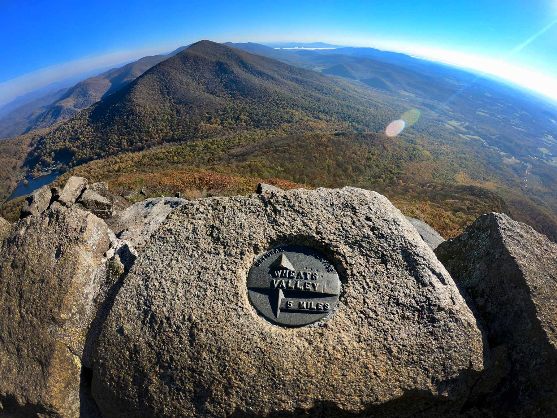 Summit view in autumn on Sharp Top Trail near Peaks of Otter Campground, Virginia