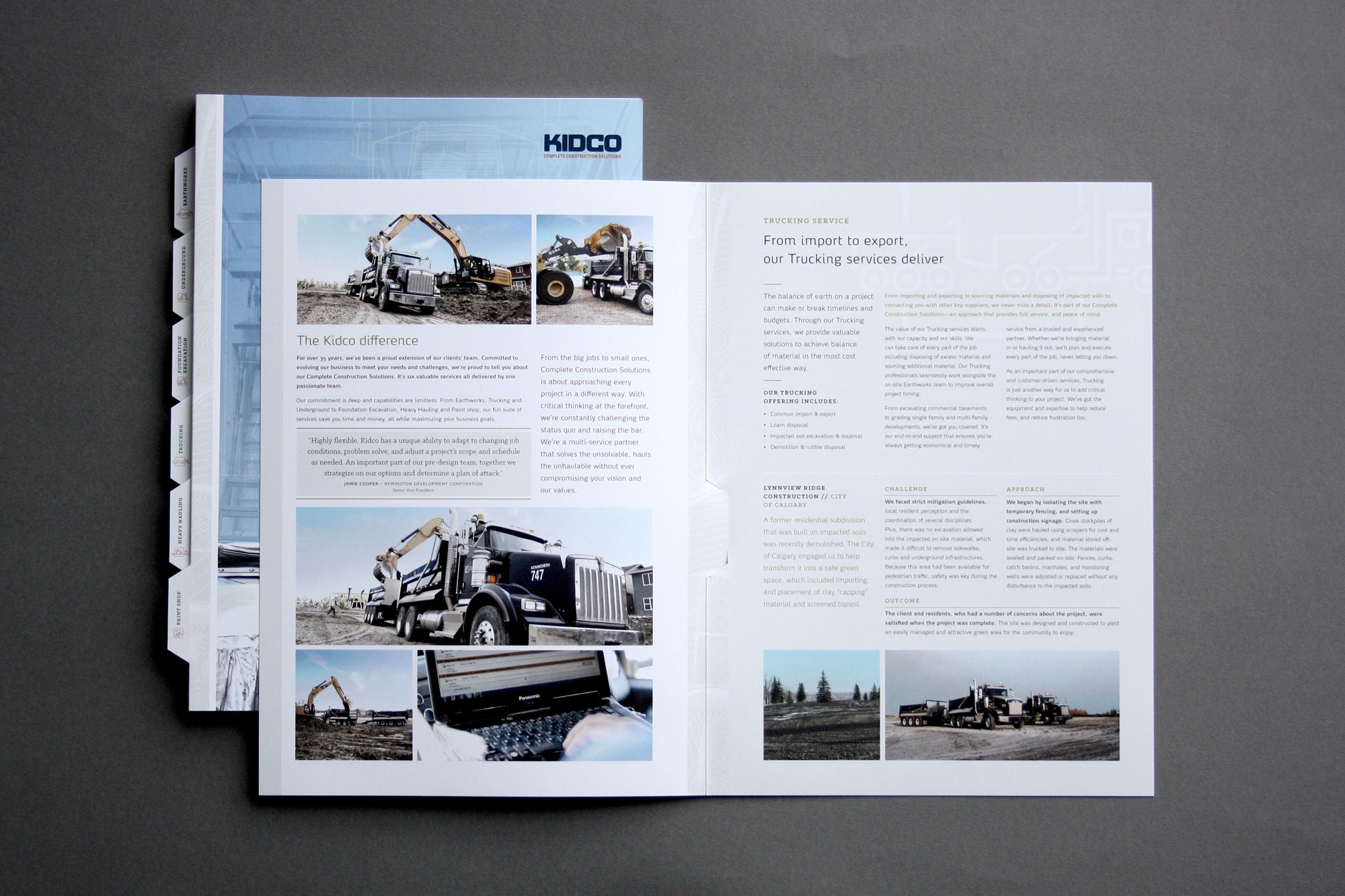 Custom brochure design for Kidco Construction in Calgary with services lines like trucking designed by Studio Forum