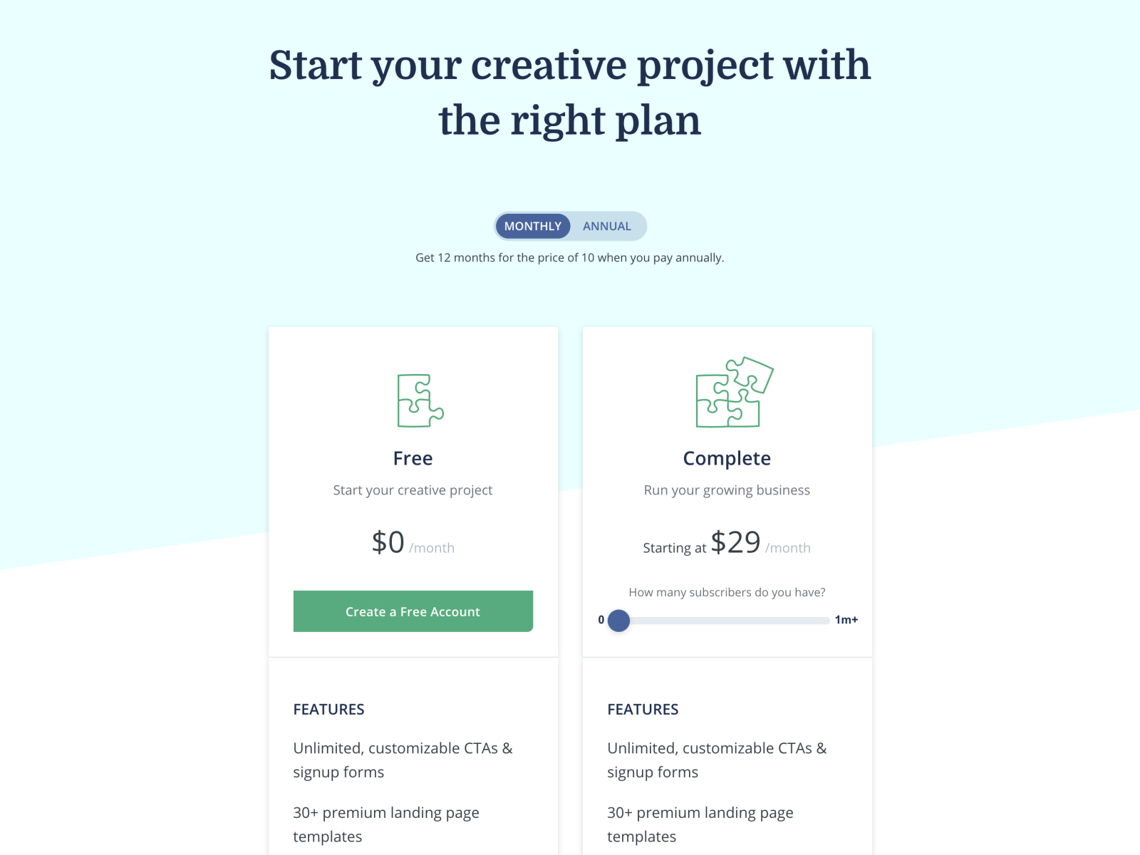 New ConvertKit pricing page