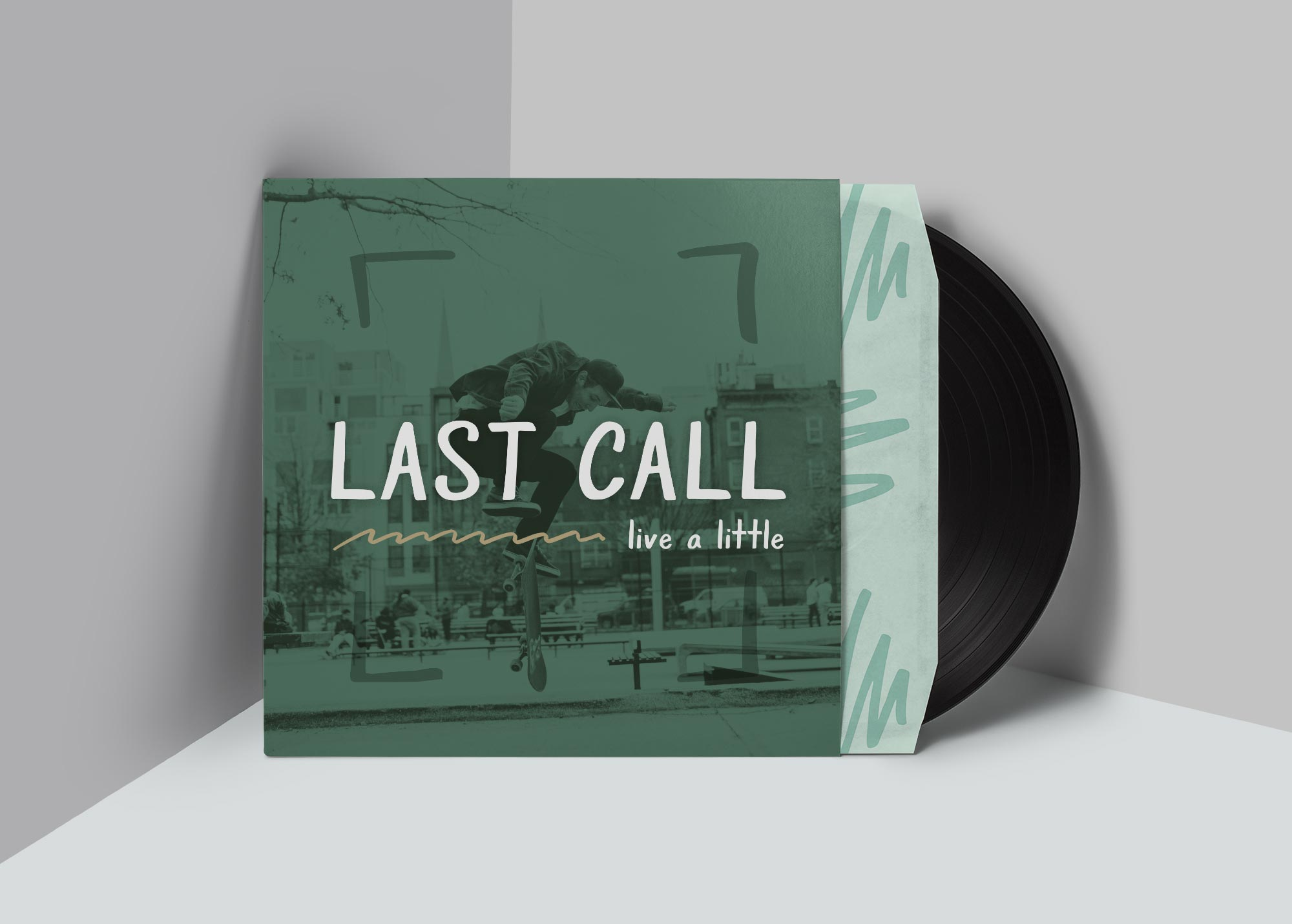 Grayscale font used for a record cover