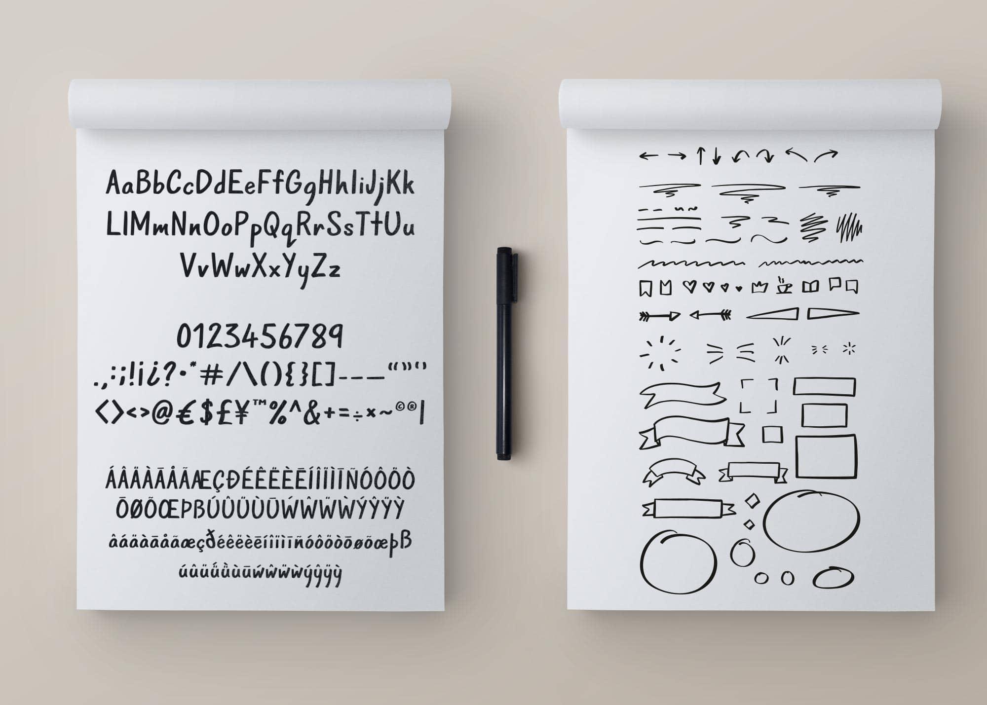 A handmade sans-serif font