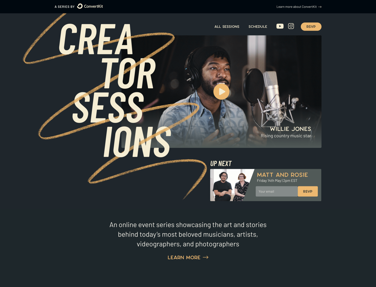 Creator Sessions website