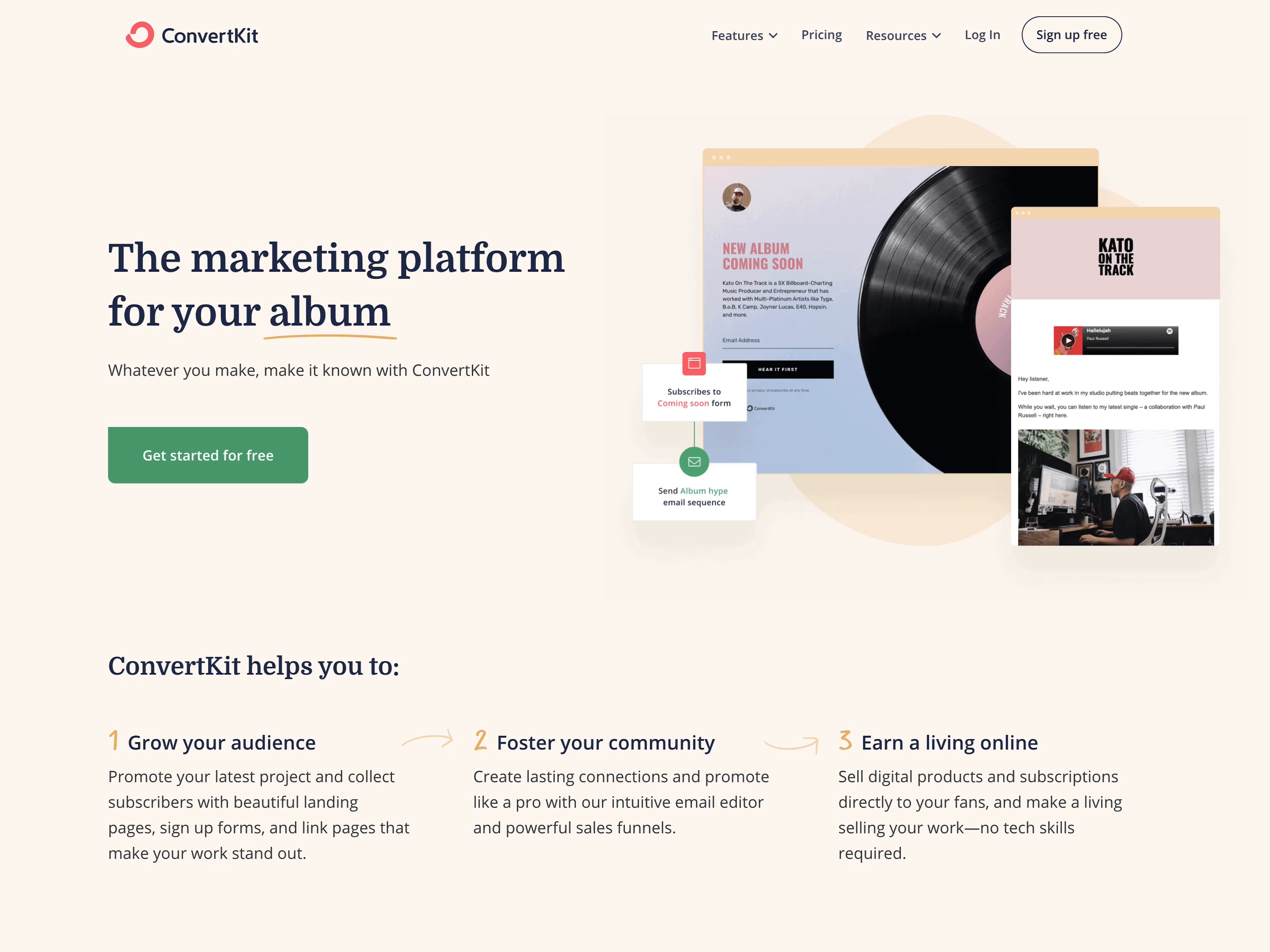 Make it known with ConvertKit - New homepage for 2021