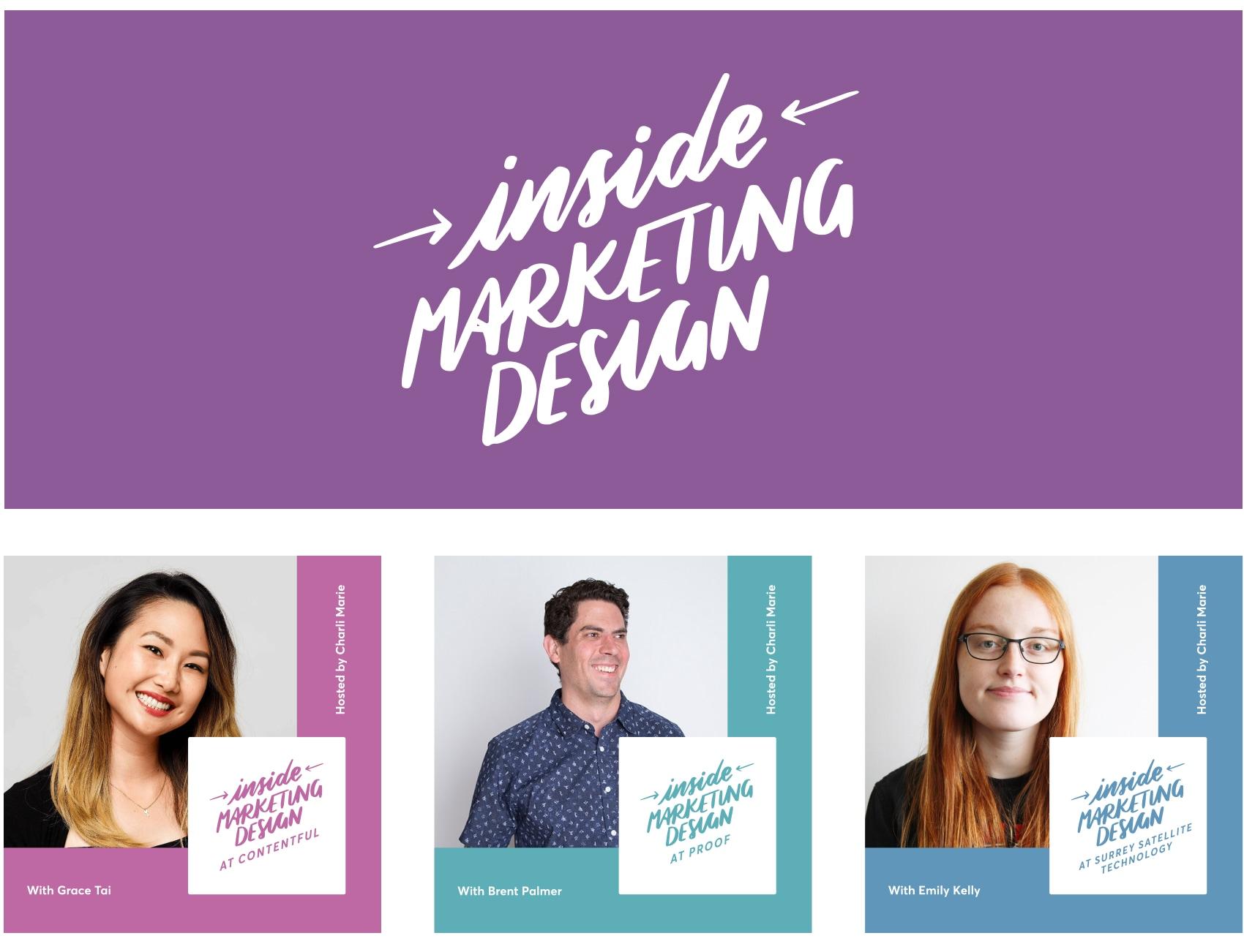 Handwritten Inside Marketing Design logo with episode cover art examples