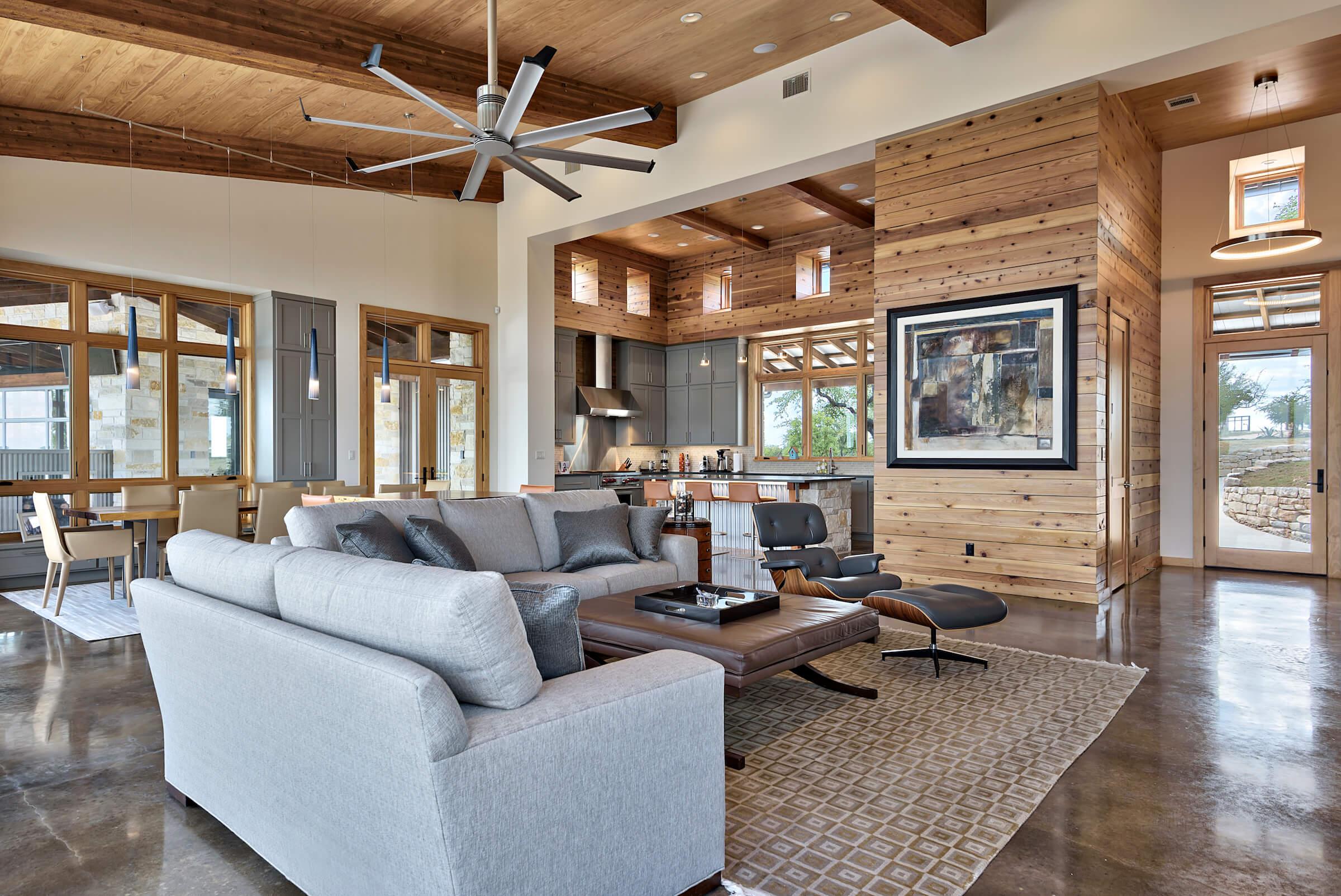Rough sawn cedar ceiling