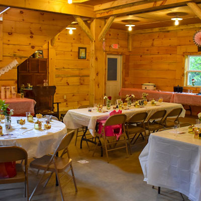 sugar house decorated for a bridal shower