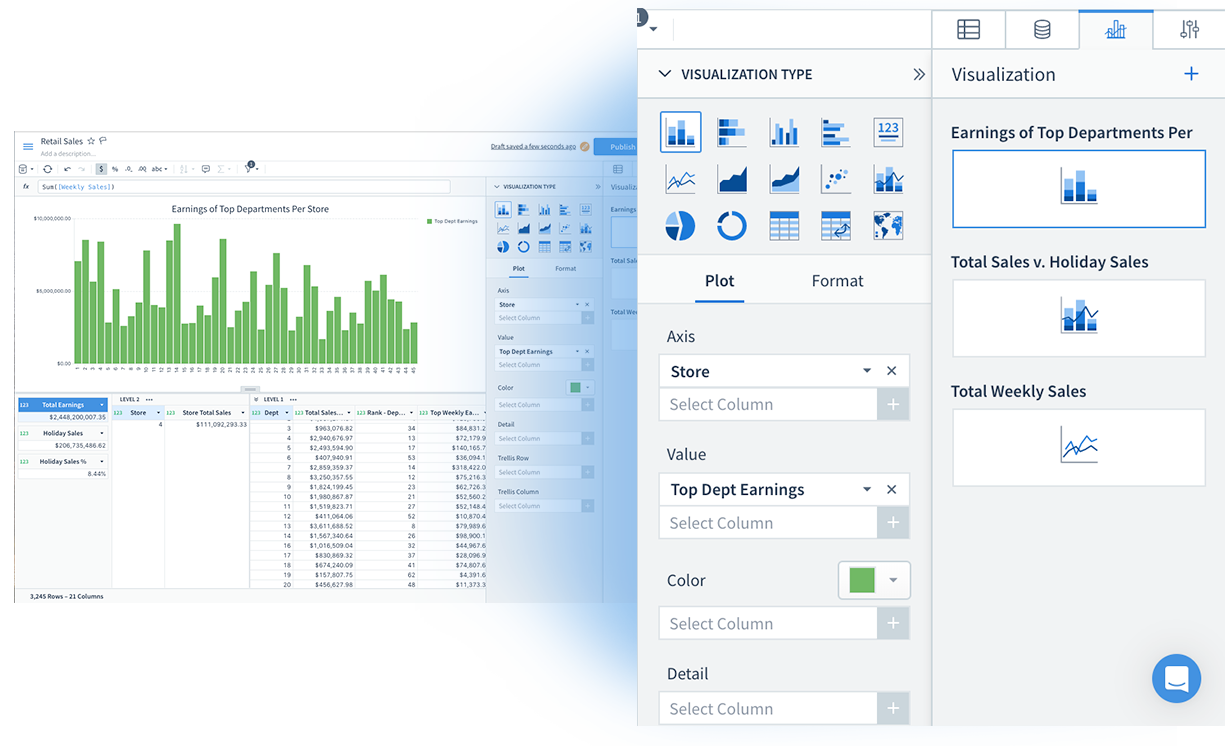 Sigma offers several types of visualizations that you create and manage through the right hand side bar