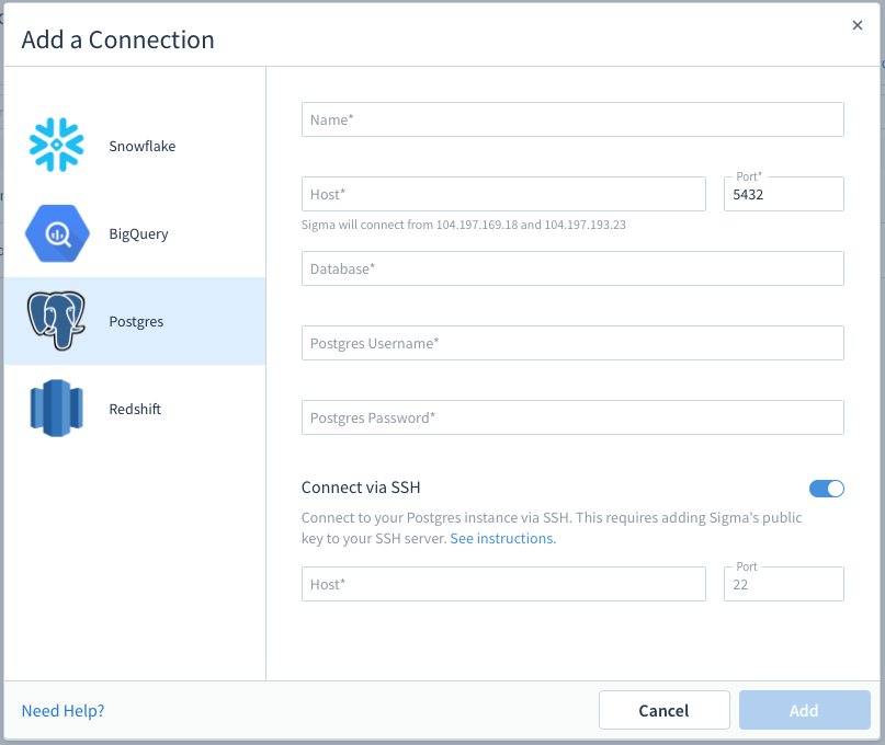 Connect via SSH - Sigma Computing