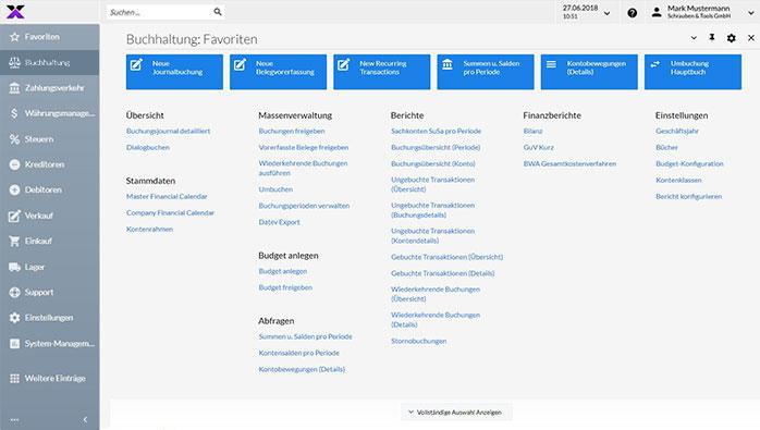 lexbizz ERP – Dashboard Buchhaltung