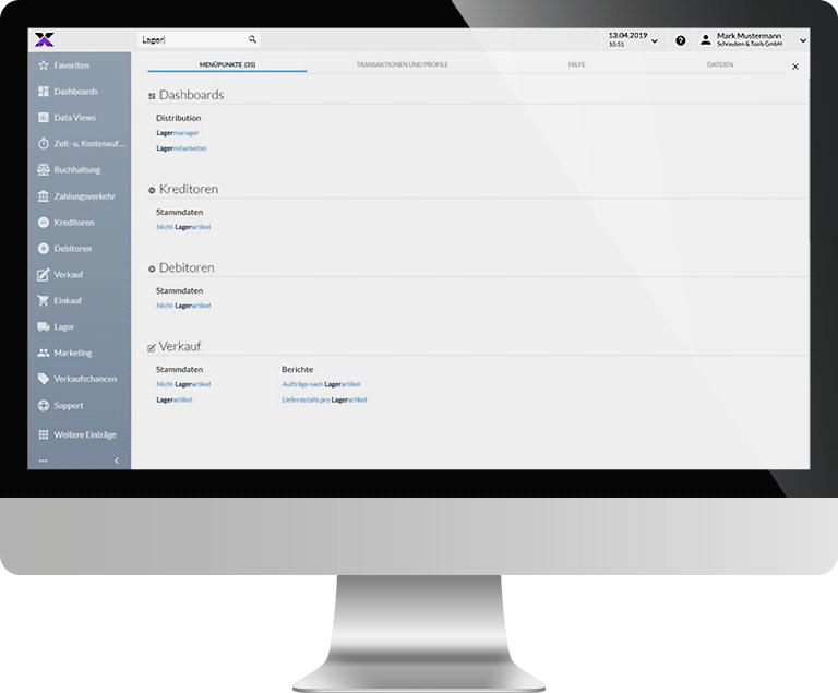 lexbizz ERP – Screen interaktive Suche