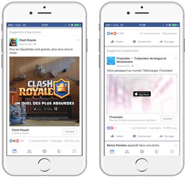 Exemple de format mobile Facebook pour téléchargement d'application