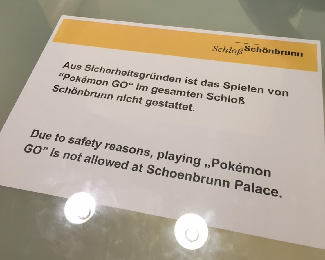 IInterdiction de jouer à Pokémon GO dans le château de Schönbrunn à Vienne.