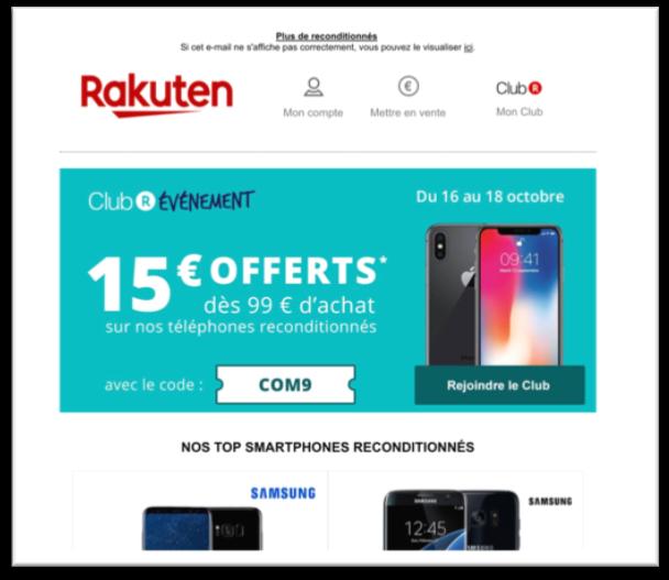 Capture d'un email de Rakuten