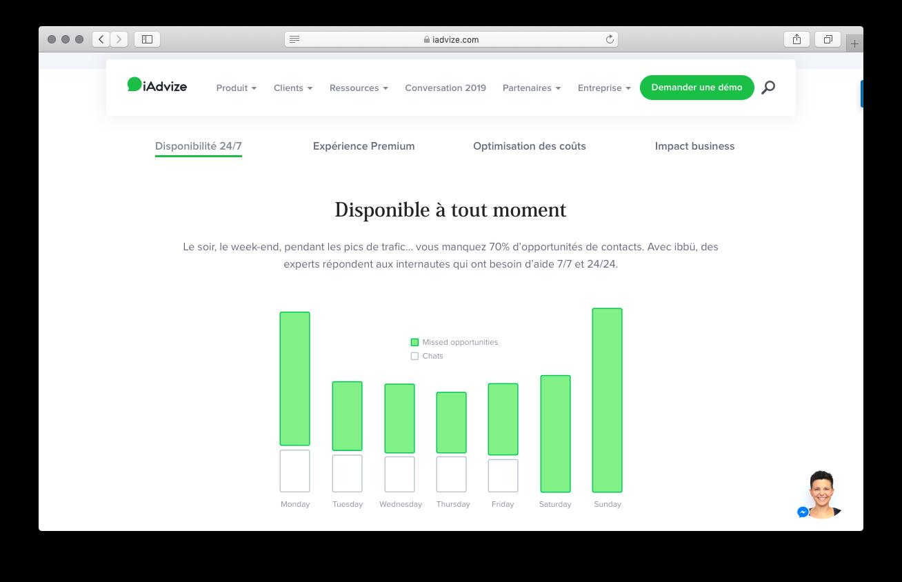 Capture d'écran du site iadvize, proposant la communauté ibbü aux entreprises
