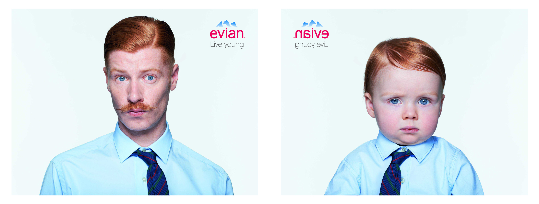 Image d'une publicité Evian, live young
