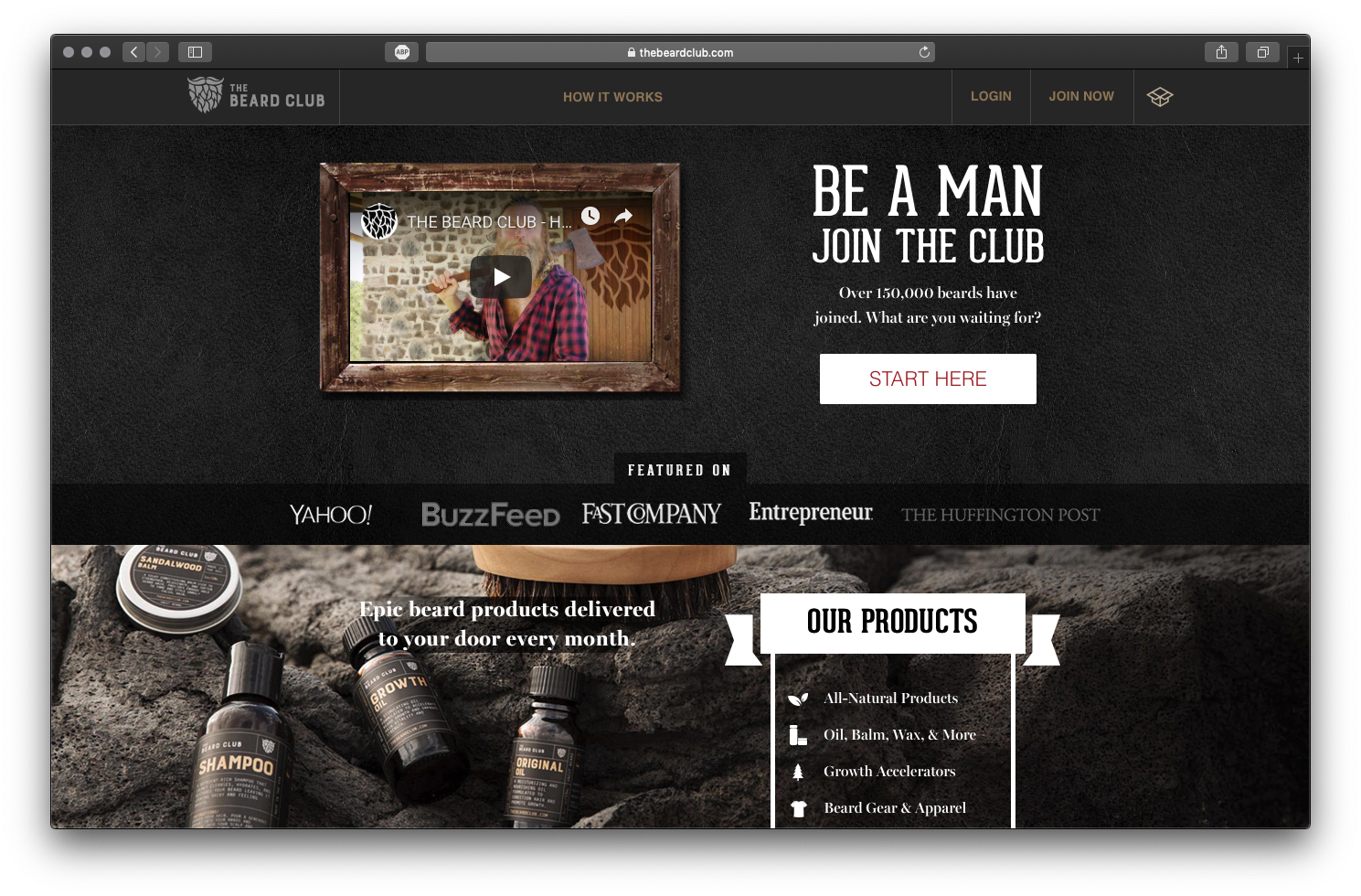 Image de la homepage du Dollar Beard Club