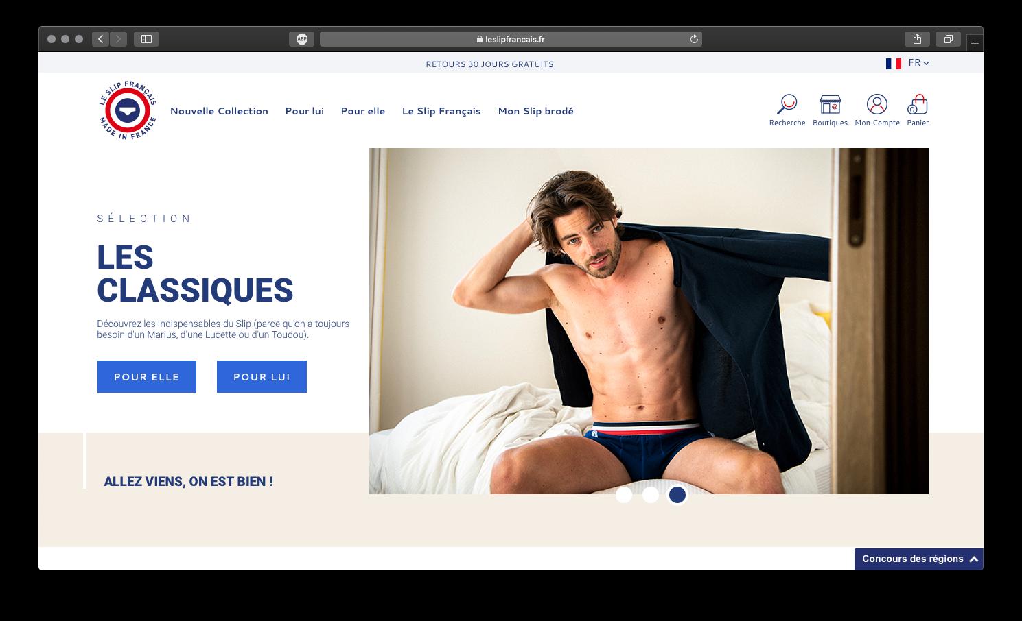 Image de la homepage du Slip Français
