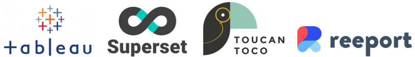 Logos de Tableau, Superset, Toucan Toco, Reeport