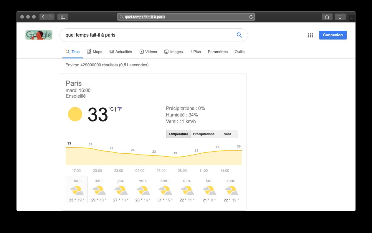 Capture de la recherche « Quel temps dait-il à Paris ? » sur Google, prenant la page entière