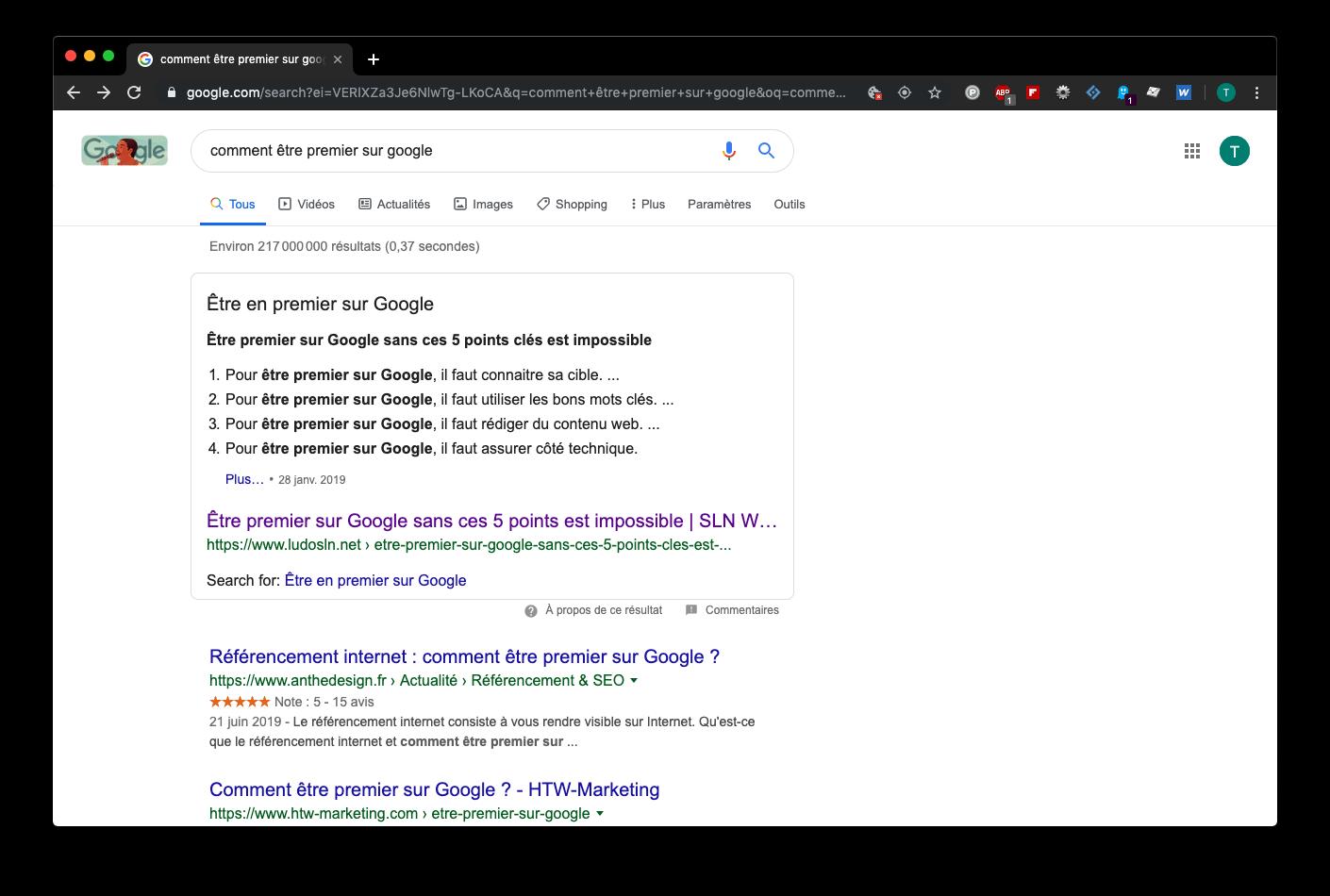 Capture d'écran Google avec le Featured Snippet « Comment être 1er sur Google »
