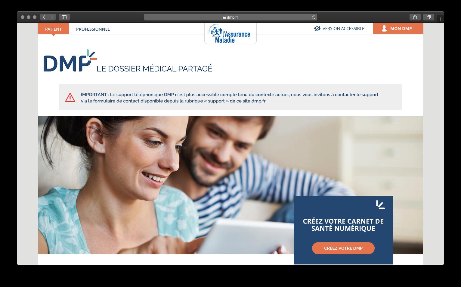 Page d'accueil du Dossier Médical Partagé