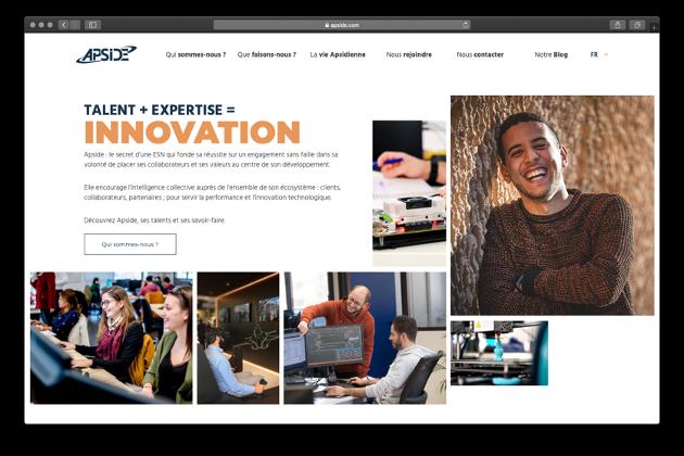 Capture d'écran de la homepage du nouveau site Apside.com
