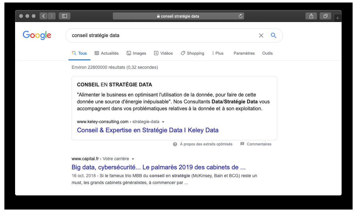 Capture d'écran des résultats Google pour la requête conseil stratégie data, montrant une position zéro