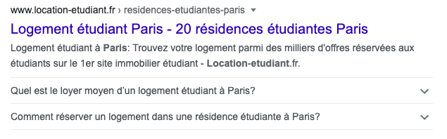 Capture d'écran des résultats Google pour la recherche logement étudiant montrant une FAQ