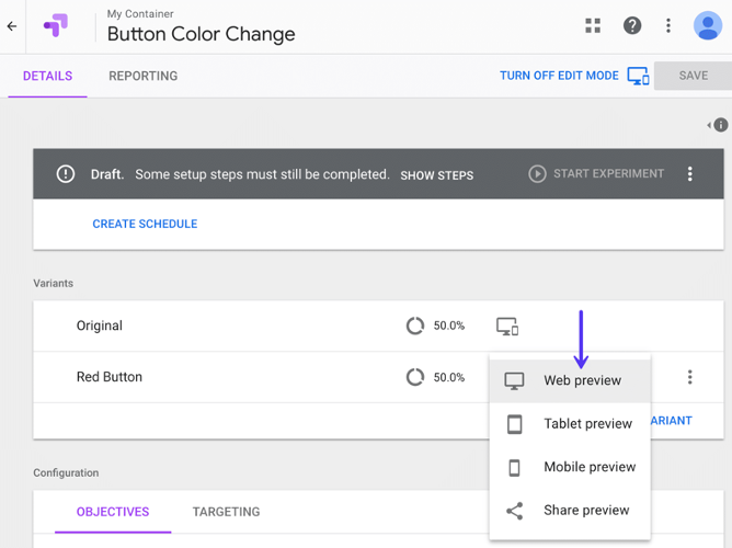 Capture d'écran de l'interface de Google Optimize