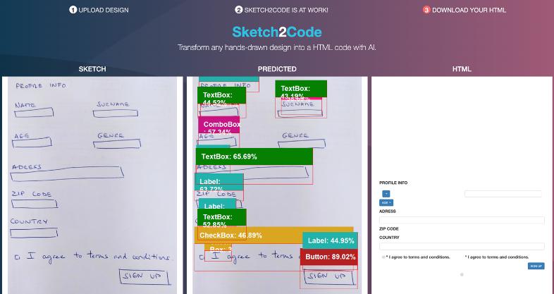 Test de l'interface Sketch2Code de Microsoft
