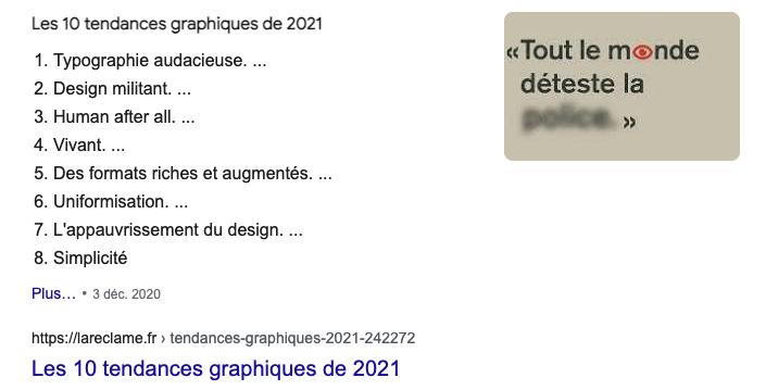 Exemple d'une featured snippet ou position 0 Google