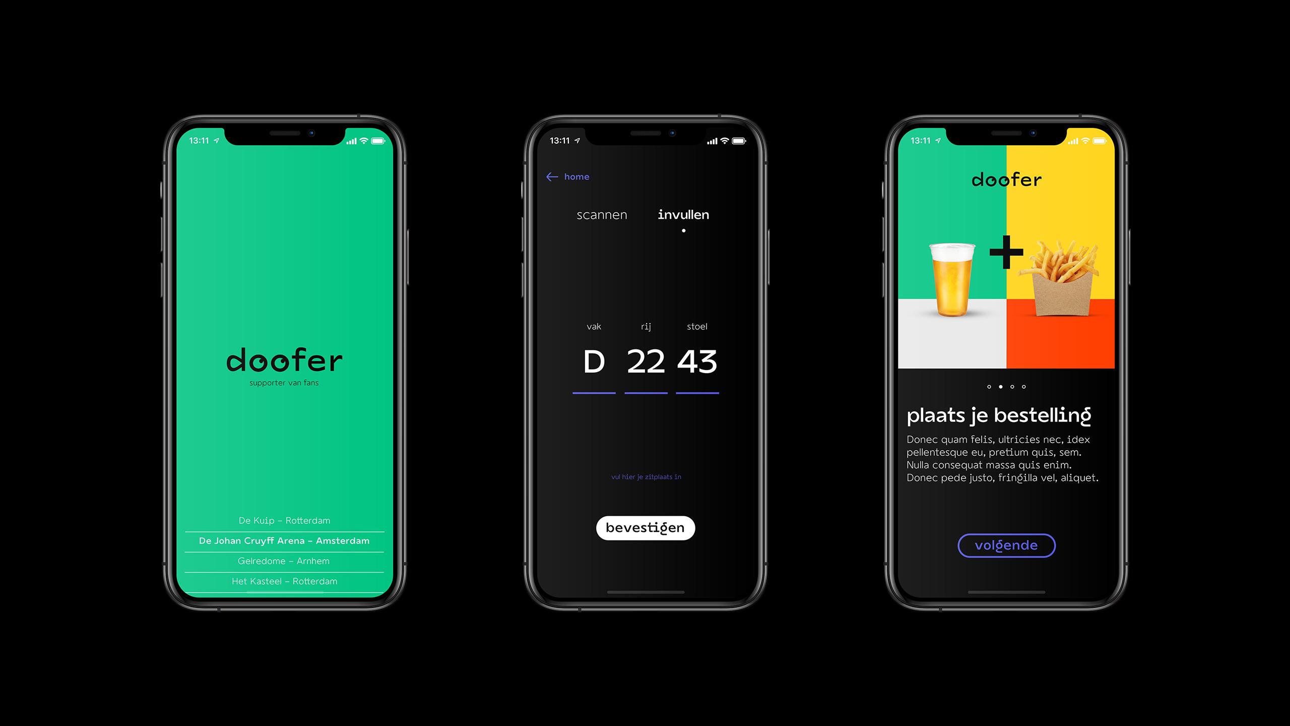 Doofer app screens
