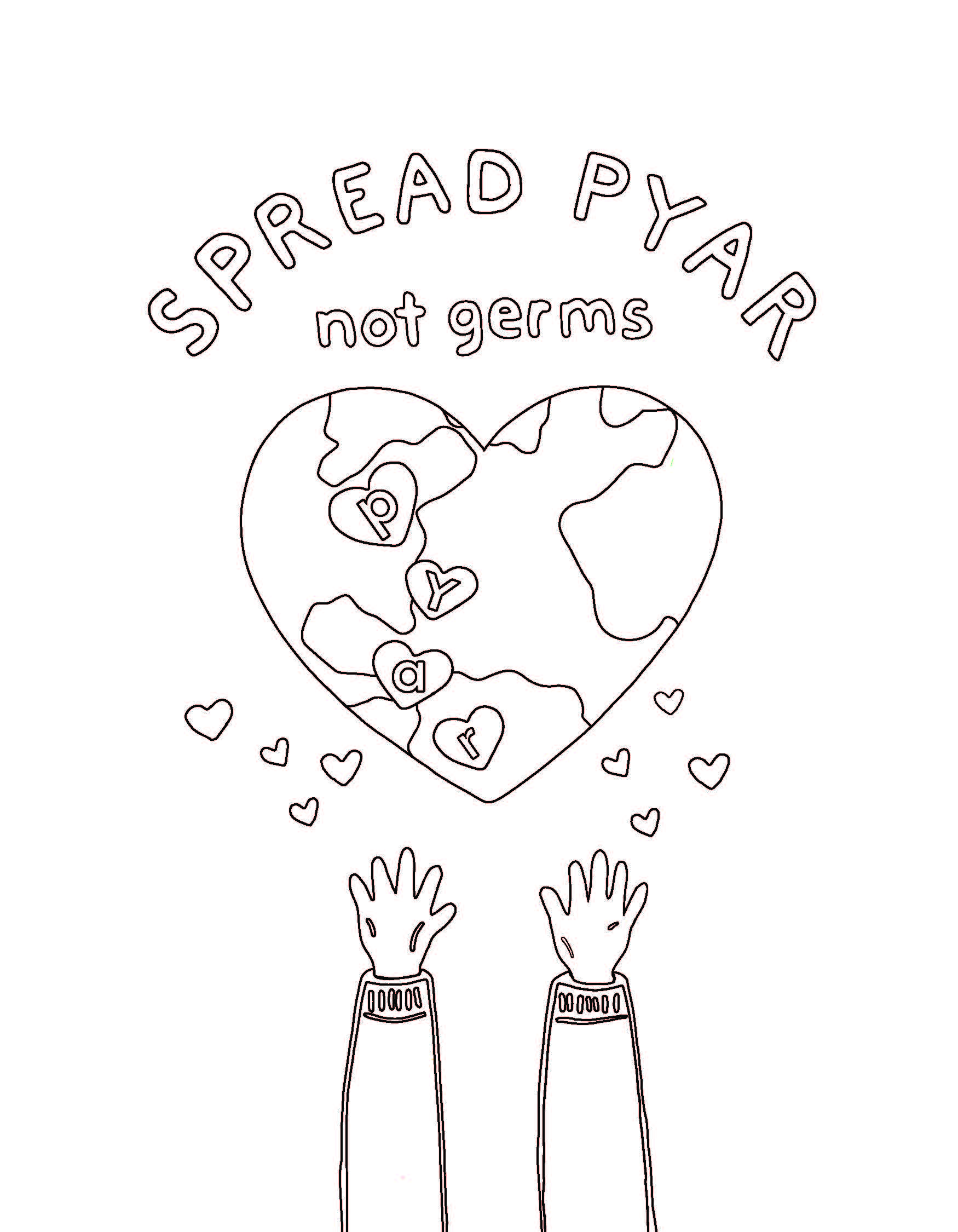 Spread Pyar Coloring Sheet