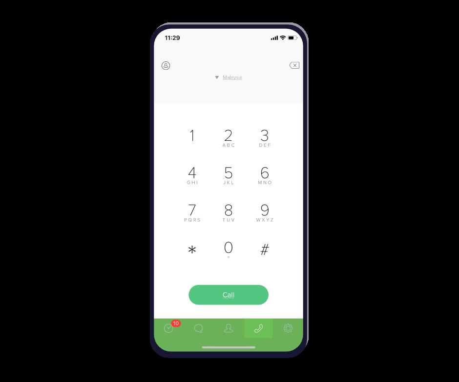 Oversized phone running Omni app.