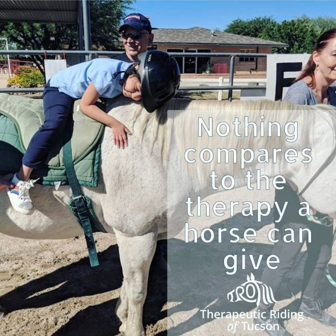 "Child riding a therapy horse. Text: ""Nothing compares to the therapy a horse can give"""